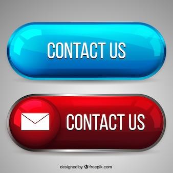 Dos botones de colores de contacto con brillo