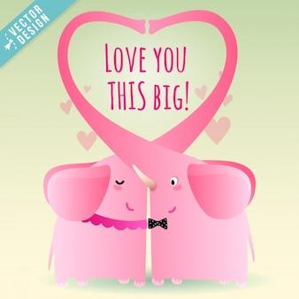 Dos elefantes rosas enamorados