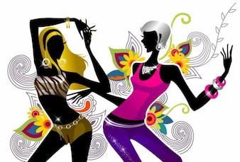 dos niñas bailando en la ilustración vectorial de fondo floral