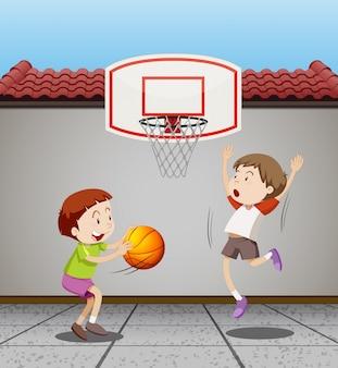 Dos, niños, juego, baloncesto, hogar, Ilustración