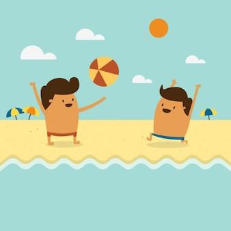 Dos niños jugando en la playa