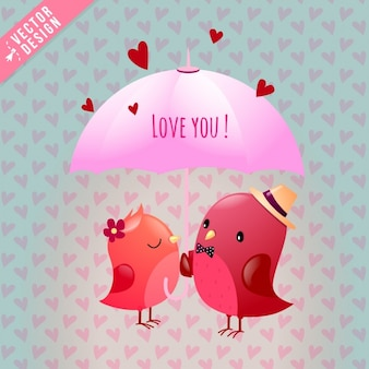 Dos pájaros enamorados bajo un paraguas rosa