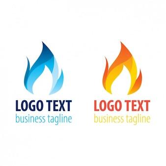 Dos plantillas de logo de llama