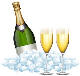Dos vasos de champán y botella en hielo ilustración