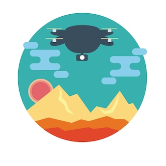 Drone en paisaje de montaña