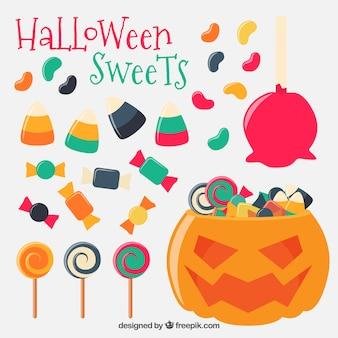Dulces de halloween con una calabaza