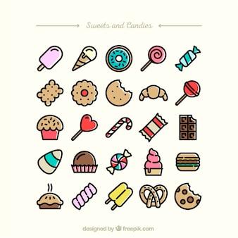 Dulces y caramelos iconos
