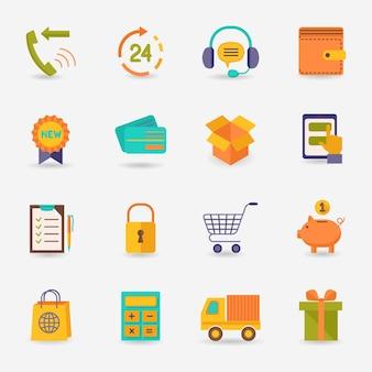 E-commerce, compras, iconos, plano, conjunto, entrega, camión, crédito, tarjeta, cerdo, banco, aislado, vector, Ilustración