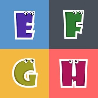 E, f, g, h, letras divertidas