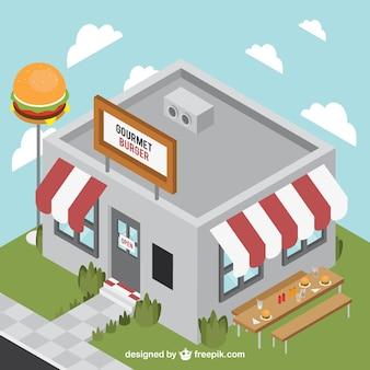 Edificio de hamburguesería tridimensional