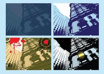 Edificio folletos ciudad vector