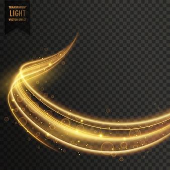 Efecto brillante dorado transparente de luz