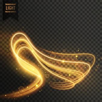 Efecto ondulado transparente de luz dorada