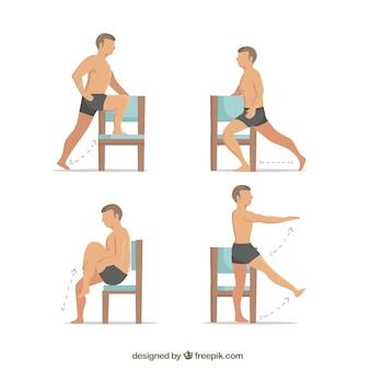 Ejercicios de rehabilitación con una silla