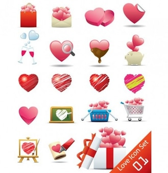 El amor y el romance vector icon set
