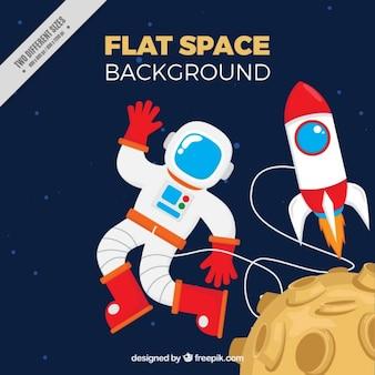 El astronauta con el fondo del cohete