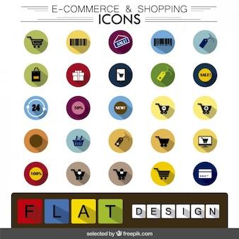 El comercio electrónico e iconos de compras