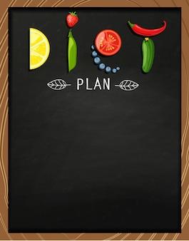 El concepto de dieta en la pizarra.