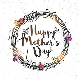 El día de madre feliz que rotula en corazones redondeó el marco redondeado, mano creativa dibujada diseño de tarjeta de felicitación
