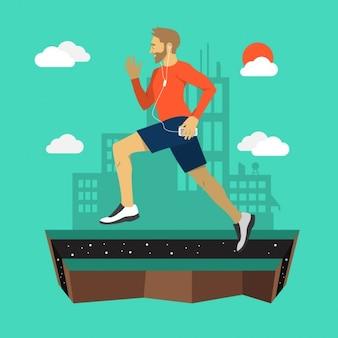 El hombre corriendo al aire libre