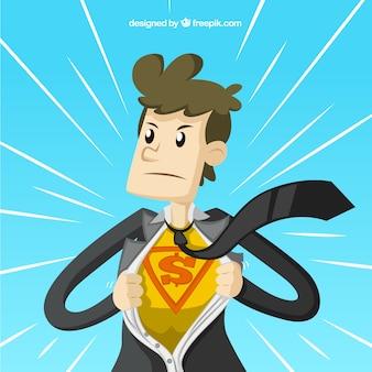 El hombre de negocios de superhéroe