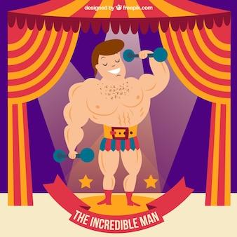 El hombre increíble en el circo