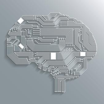 Electrónica de la informática de la placa de circuito de diseño de la forma del cerebro o emblema aislado ilustración vectorial