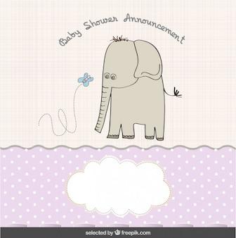 Elefante con mariposa, tarjeta de bienvenida del bebé