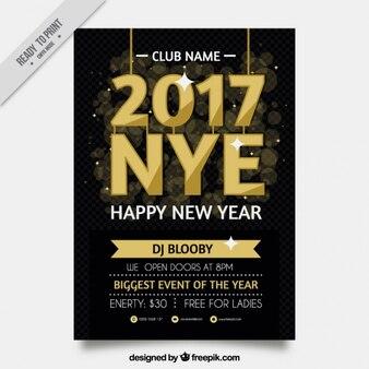 Elegante cartel dorado de fiesta de fin de año