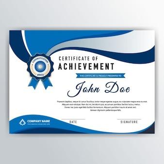 Elegante certificado con elementos ondulados azules