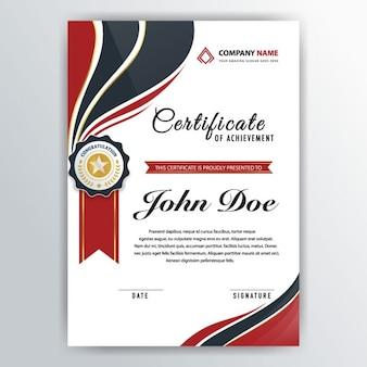 Elegante certificado con una cinta roja