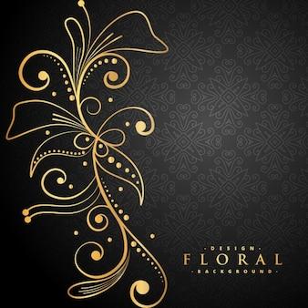 Elegante decoración floral de oro sobre fondo negro