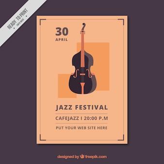 Elegante folleto vintage de festival de jazz
