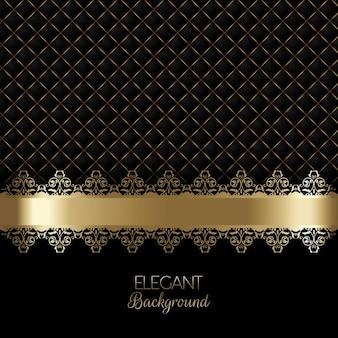Elegante fondo negro de lujo con ornamentos dorados