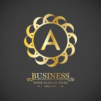 Elegante logotipo dorado con la letra a