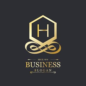 Elegante logotipo dorado con la letra h