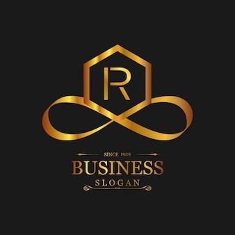 Elegante logotipo dorado con la letra r