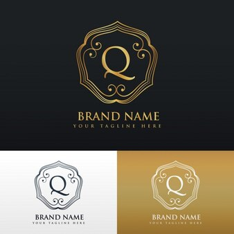 Elegante logotipo ornamental con la letra q