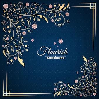Elegante marco floral con ornamentos dorados