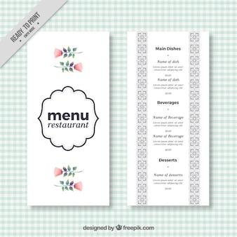 Elegante menú de restaurante con flores en acuarela