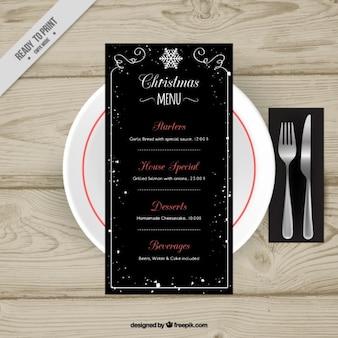 Elegante menú navideño negro