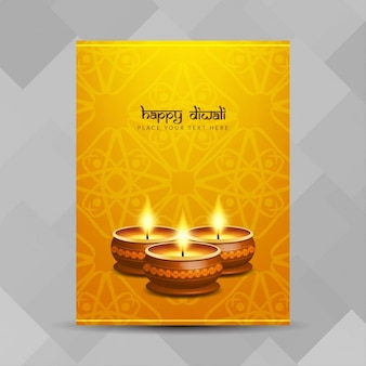 Elegante póser amarillo para diwali
