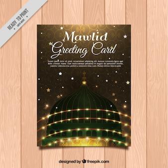 Elegante tarjeta de felicitación de mawlid con luces