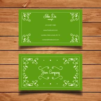 Elegante tarjeta de visita verde