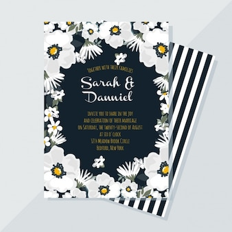 Elegante tarjeta floral para bodas