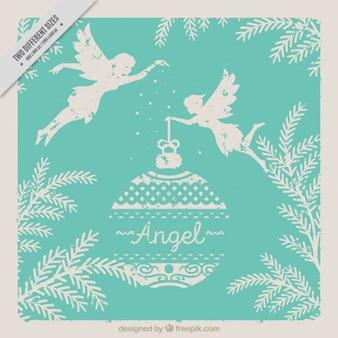 Elegante tarjeta vintage de ángeles con bola de navidad