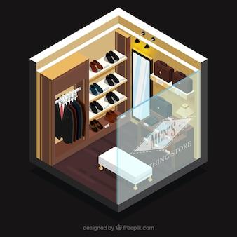 Elegante tienda de ropa, vista isométrica