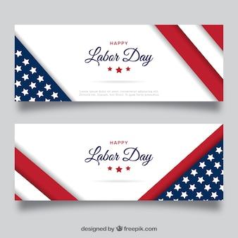 Elegantes banners americanos del día del trabajo