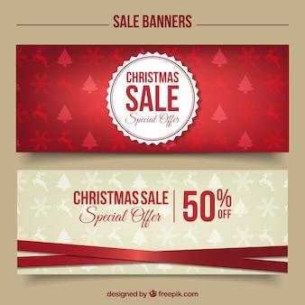 Elegantes banners de descuentos de navidad