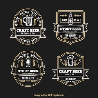 Elegantes etiquetas retro de cerveza dibujadas a mano